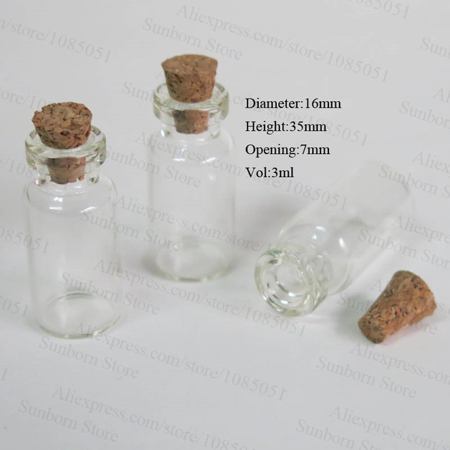 x 3ml glass vial with cork mini glass bottle with cork corked