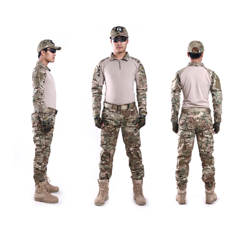 Tactical military train uniform suit outdoor men hunting airsoft CS wargame shirts top pants set clothing with protective gear