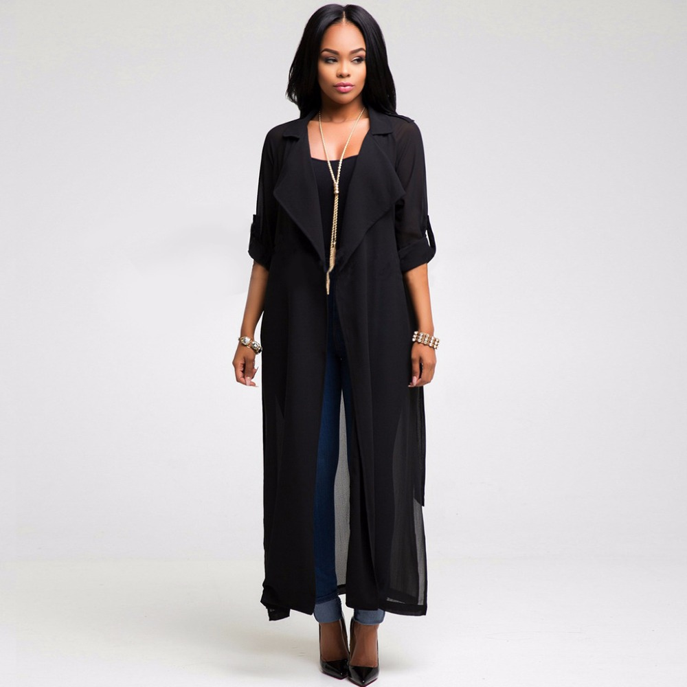 Fashion Spring Autumn Women Long Sleeve Side Split Maxi Coat Women ...