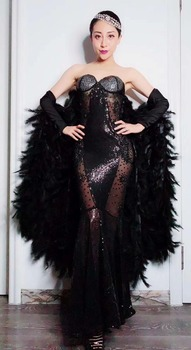 Black Sparkly Crystals See Through Mesh Long Trains Feather Dress Birthday Celebrate Stones Fringes Costume Dance Outfit