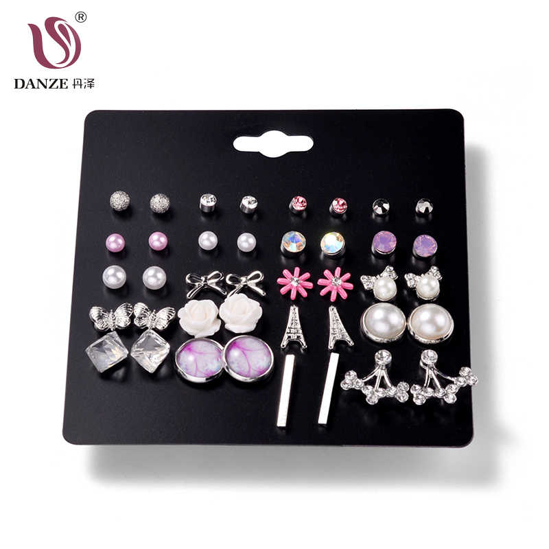DANZE 20Pairs/Set Fashion Crystal Ball Stud Heart Earrings Set For Women Imitation Pearls Flower Animal Stud Earring Jewelry