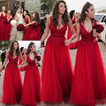 Long Red Bridesmaid Dresses 2017 V-Neck Sleeveless Backless Floor Length Tulle and Lace Ribbons 2017 A-line Bridesmaids Dress