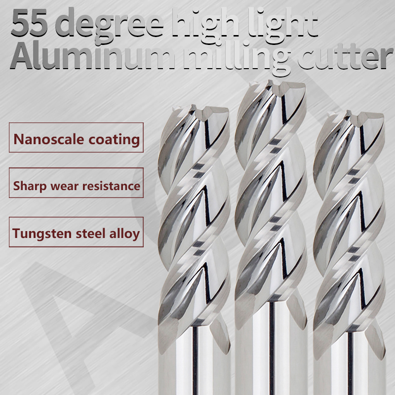Aluminum Cnc Tools Endmill Cutting HRC55 3 Flute Carbide Milling Cutter End Mill For Aluminum Copper Processing Milling Tools