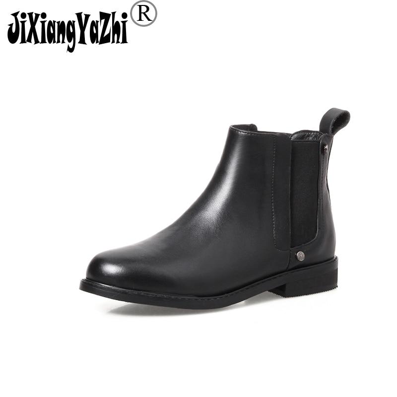 JIXIANGYAZHI brand 2108 new cowhide women's boots round cashmere zipper ankle women's boots # A-020 2108