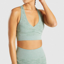 SALSPOR New Camo Seamless Sport Bra Women High Impact Push Up Gym Running Fitness Tops V-neck Cross Workout Crop Top Yoga