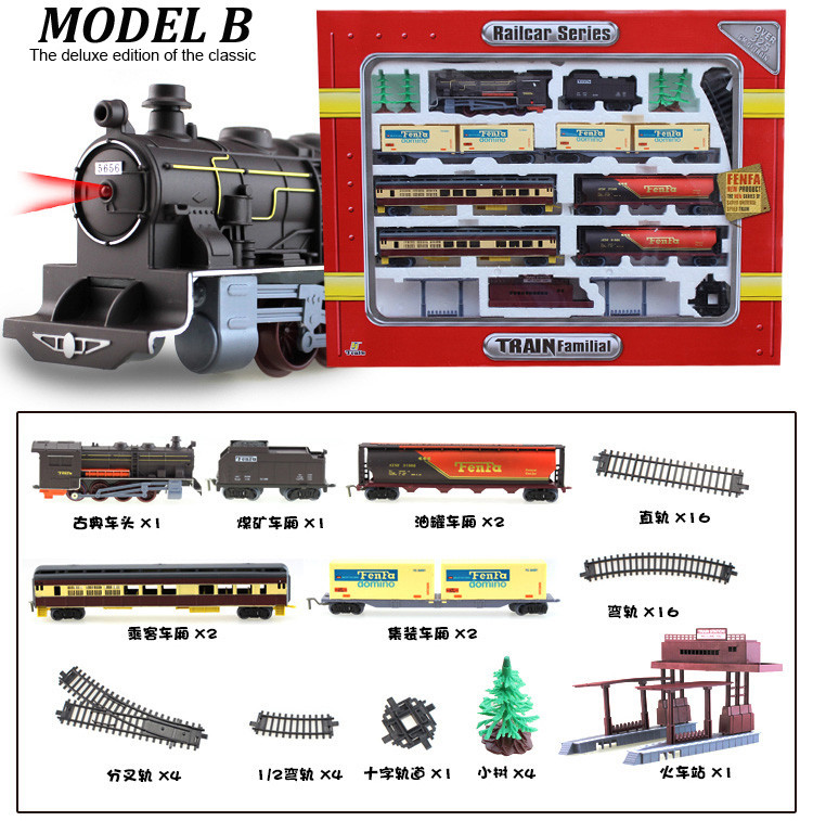 Free shipping!Long Steam Train 9.4 Meters Train Track electric toy trains for kids Truck for boys Railway Railroad birthday gift - 5