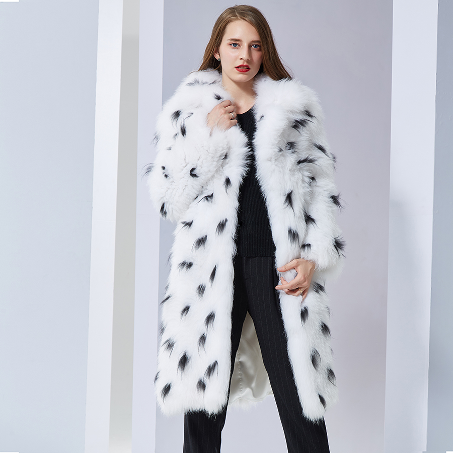 Réel de fourrure de renard manteau de mode Tricoté naturel Tricoté tournent vers le bas long manteau doux chaud femmes manteaux de fourrure de renard réel renard Veste