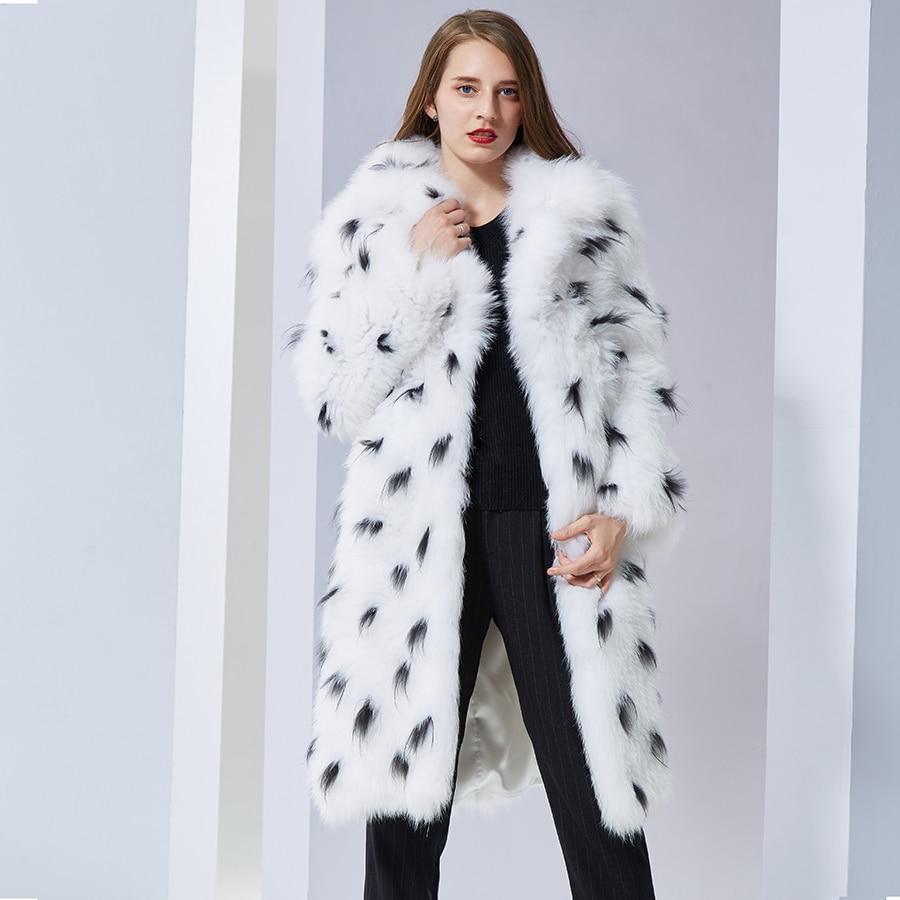 Réel Le Bas A Tricoté Tournent Long Vers Doux Renard Femmes Manteau Mode Veste Fourrure De Chaud Naturel Manteaux FclK1JT