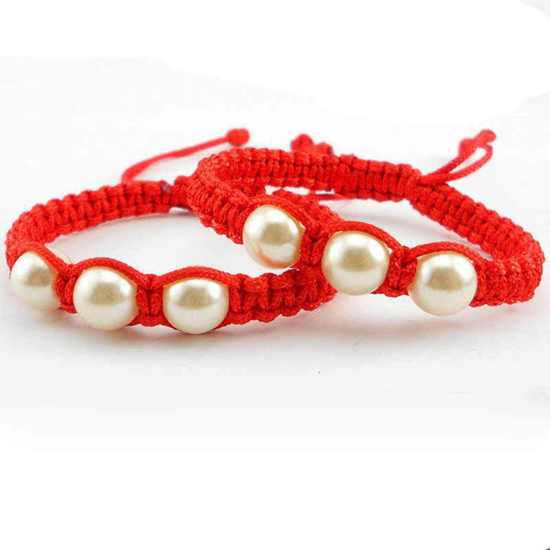 Lucky Red Thread Bracelets Bangles for Women DIY Handmade Rope Bracelet with Pearls Rope Braided Braclet Friendship Jewelry Gift