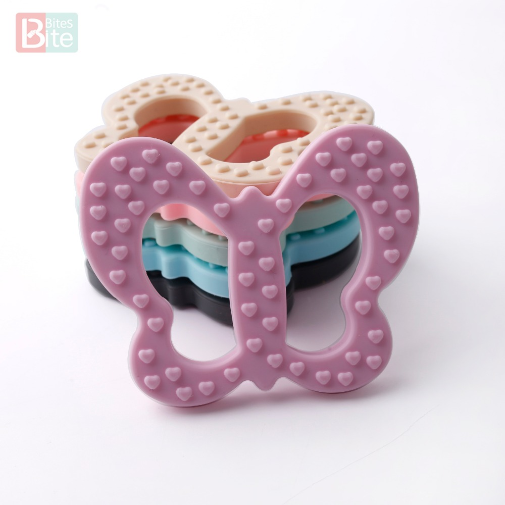 Bite Bites Special Gift Silicone Butterfly Teethers Food Grade For Necklace Bracelet Rattle Pendants DIY Accesorios Baby Teether