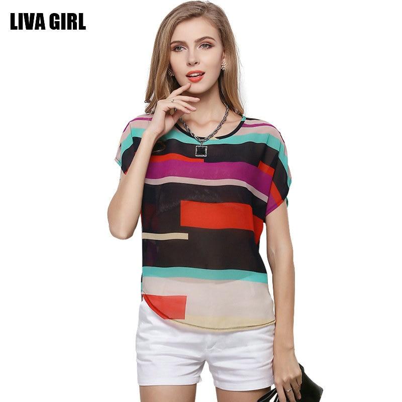 2018 spring chiffon tee shirt femme fashion o-neck tshirt women casual T-shirt batwing sleeve tops colorful striped tops