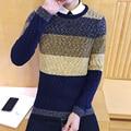 Electric a003-m27-45 thick o-neck sweater color block decoration orange