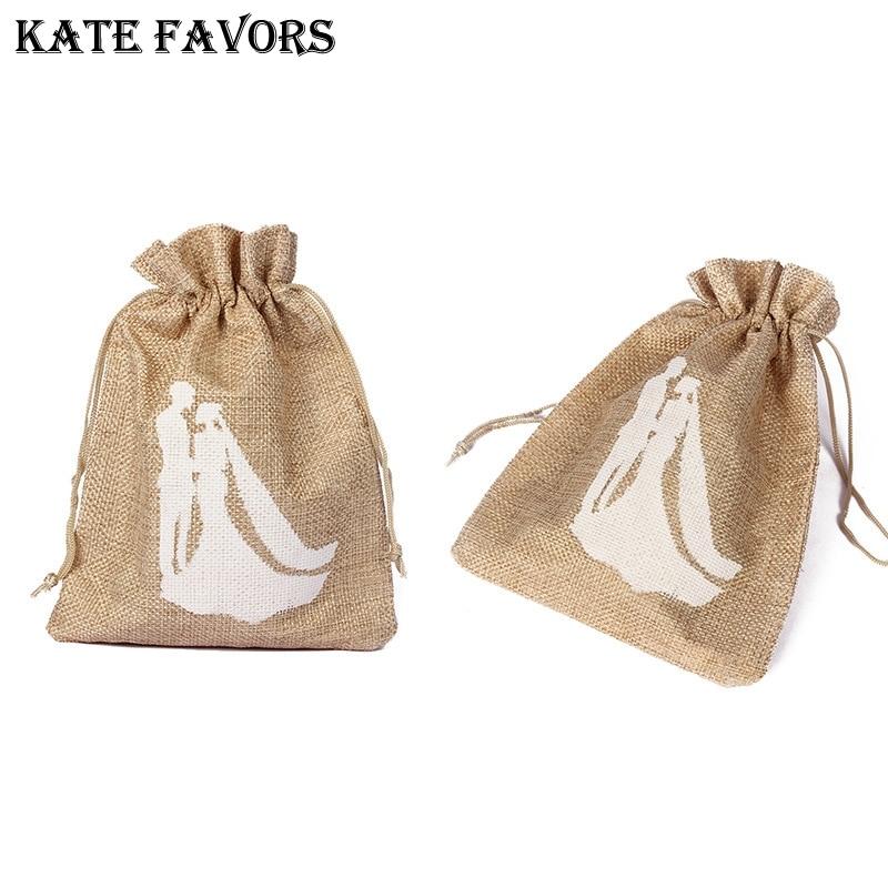 10Pcs/Pack 10x14Cm Wedding Gift Bags Pouch Linen Hessian Hemp Jute Drawstring Packaging Bag Wedding Favors And Gifts