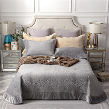 Gray Brown Beige High Quality Comfortable Flannel Cotton Blanket Thick Bedspread Bed Cover Sheet Linen Pillowcases 3pcs