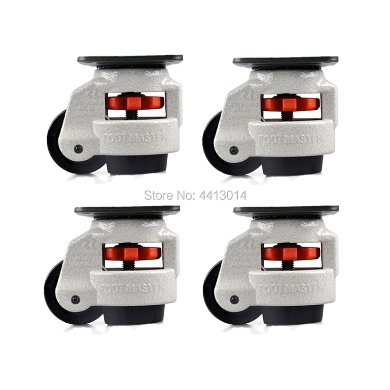 4PCS <font><b>GD</b></font>-60Fzhuomiao Foot Levelling Adjusted Nylon Wheels Castors Support image