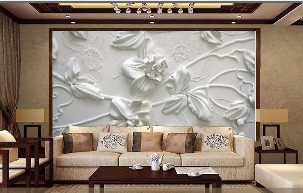 Simple european elegant white flowers 3d murals wallpaper for Mural 3d simple