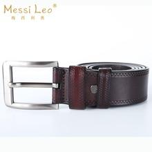 Messi Leo Manual Buckle Cowskin Man Belts Genuine Leather Belt For Men Fashion High Quality Casual Soild Belt