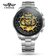 Winner Clock Black Golden Skeleton Dial Luminous Design Mechanical Watch for Men Top Brand Luxury Folding Clasp with Safety camp safety golden top plus