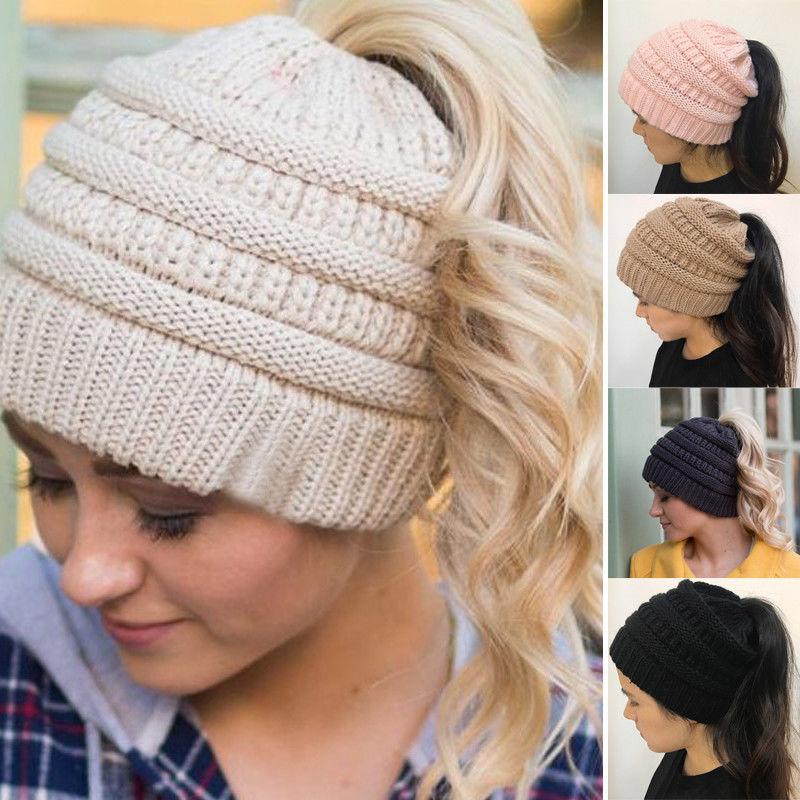 81a62ec5cd131 URDIAMOND Ponytail Beanie Hat Women Crochet Knit Cap Winter Hat Skullies  Beanies Warm Caps Female Knitted ...