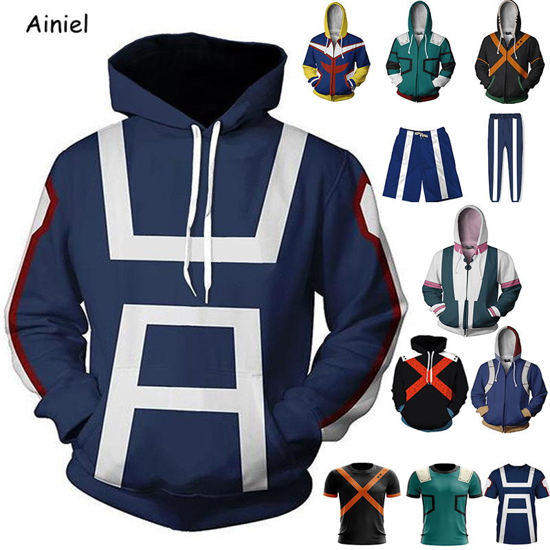 Movie My Hero Academia Cosplay Costumes Coat Jacket Sweater T-shirt Casual Hoodie Autumn Fashion Women Halloween Costumes Men