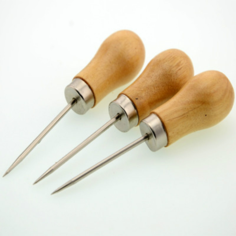 3Pcs Wooden Handle DIY Leather Tent Sewing Awl Pin Punch Hole Repair Tool Hand Stitcher Leather Craft Needlework