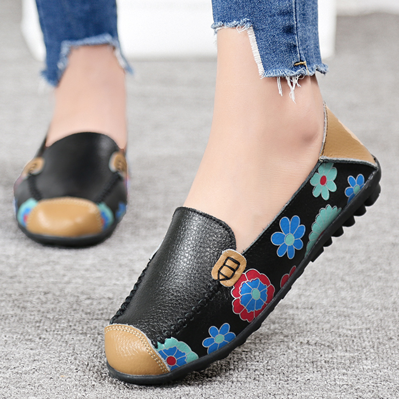 STAINLIZARD 2017 New Autumn Printing PU Leather Flats Shoes Soft Mom Women Shoes Casual Moccasin Breathable Loafers Shoes DT913 vintage embroidery women flats chinese floral canvas embroidered shoes national old beijing cloth single dance soft flats