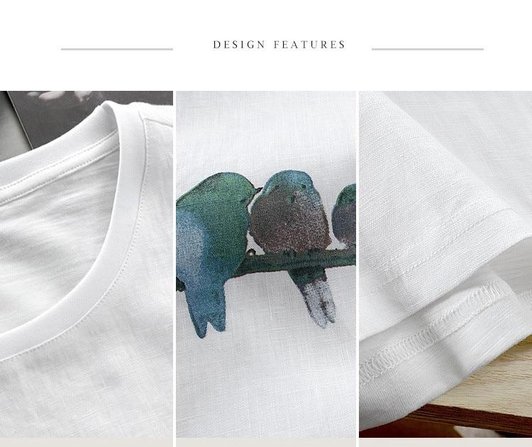 f34bb64f9f 2018 hombres de lino de manga corta Camiseta cuello redondo impreso Lino  tela suelta camiseta hombres sólido transpirable camiseta hombres M-3XL  camisetas