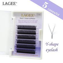 LAGEE 5Case Y Shape Eyelashes Extensions Double Tip Eyelash Soft Natural Easily Grafting Style  Faux Mink Volume Eye Lashes