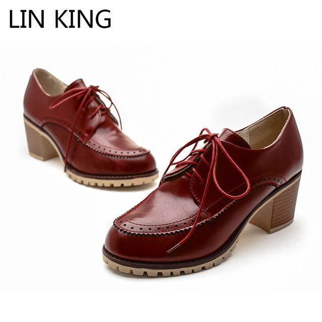 LIN KING New British Style Women Casual Shoes Fashion Pu Lace Up Platform Shoes Leisure Square Heel Lolita Shoes Big Size Eur