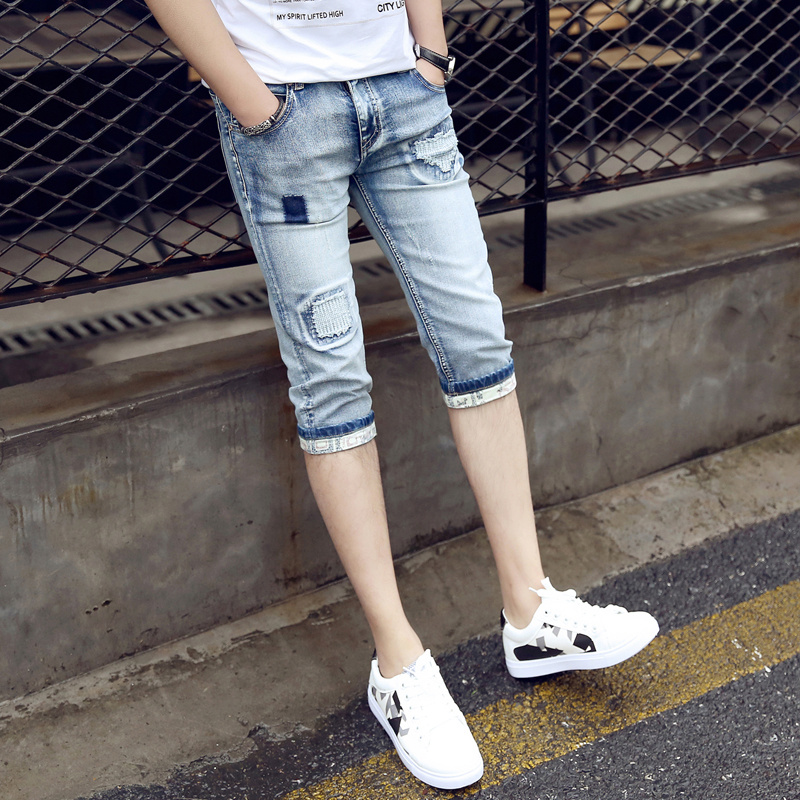 Anbican Brand 2019 Summer Patched   Jeans   Shorts Men Skinny Short   Jeans   Male 3/4 Denim Shorts Slim Fit Cuffs   Jeans