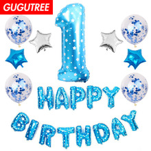 1 years old happy birthday balloons for party Decoration, star foil decoration PD-63