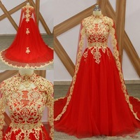 Elegant Red High Neck Arabic Long Prom Dresses With Cape Middle East Appliques Beaded Formal Prom Gowns Robe De evening dress