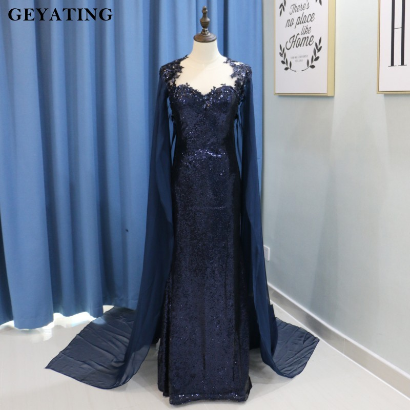 Navy Blue Sequined Mermaid   Evening     Dress   with Cape Sheer Back Watteau Train Long Arabic Formal Prom   Dresses   2018 Abendkleider