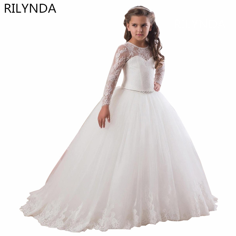 Champagne Puffy Lace Flower Girl Dress for Weddings Long Sleeves Ball Gown Girl Party Communion Pageant Gown Vestidos 2017 puffy lace flower girl dress for weddings ball gown girl party communion pageant gown infant tutu princess vestidos d4