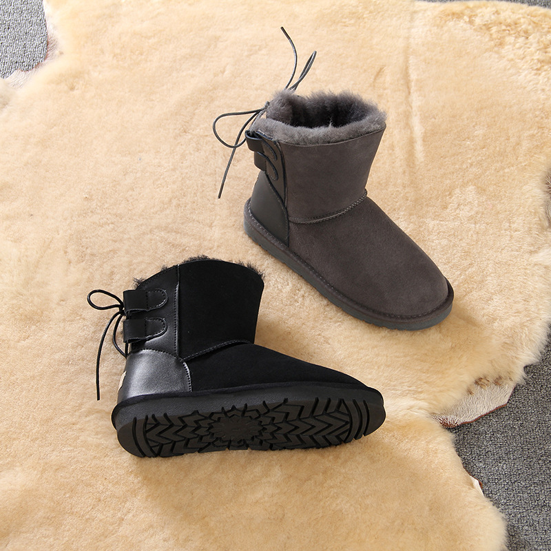 Fashion Novel and unique suede Sheepskin with wool laces women 39 s snow boots shock absorber warmth in the winter women 39 s shoes in Mid Calf Boots from Shoes