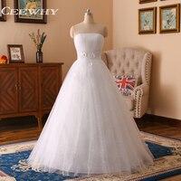 Ceewhy sin tirantes de cristal apliques vestido de novia a-line vestidos de hochzeitskleid vestido de novia robe de mariee vestido de boda