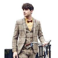 New Style Men's Wedding Tuxedos Groom Man Best Man Viscose Fiber Suits Man Blazeers Two Buttons (Jacket+Pants+Vest)