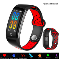 2019 Smartwatch Q6 Heart Rate Monitor Blood Pressure Blood Oxygen Sports Activity Tracker Fitness Smart Watch IP68 Waterproof