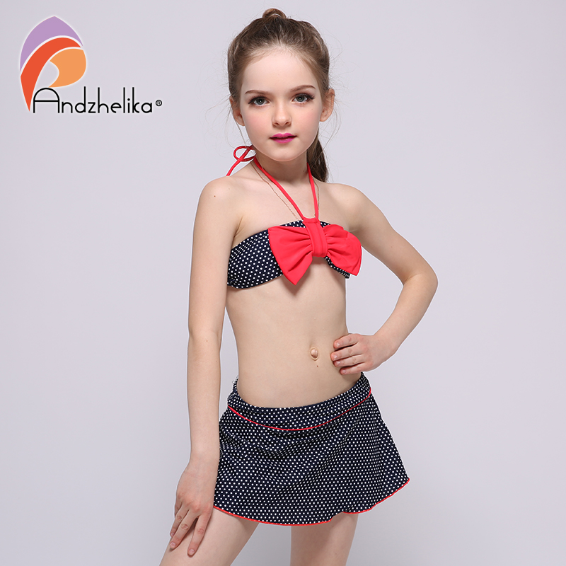Andzhelika Children's Swimwear 2018 New Dress Girls Bikini Cute Dot Bow tie Swimsuit Child Bikini Set Swim Suit For Girl