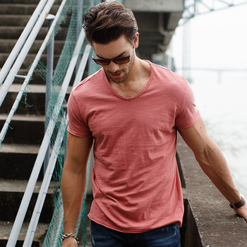 GustOmerD Brand T shirt Men's V-neck Slim Fit Pure Cotton T-shirt Fashion Short Sleeve T shirt Men's Tops Casual Tshirt M-XXL 4
