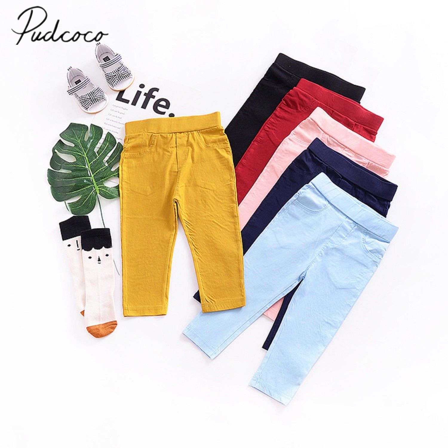2018 Brand New Toddler Infant Kids Child Baby Boy Girl Stretch Pants Clothes Trousers Slacks Candy Color Casual Bottoms 1-6T candy color slim casual pants
