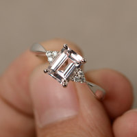 6 8mm Morganite Ring Engagement Ring Emerald Cut Sterling Silver Promise Ring Pink Morganite Ring