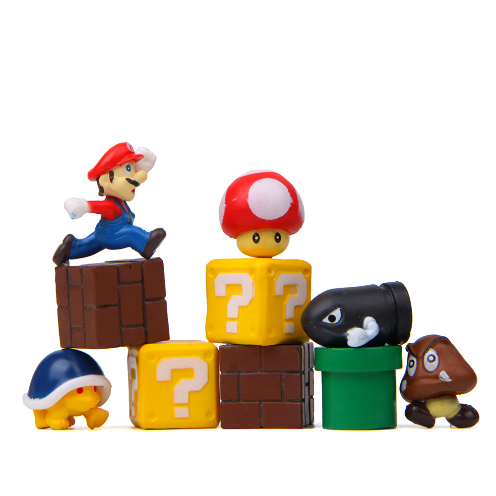 2 см мини-игрушки для детей фигурки супер Марио и Луиджи Bros Коллекционная модель для мальчиков подарок принцессы гриб комплект с симпатичны...