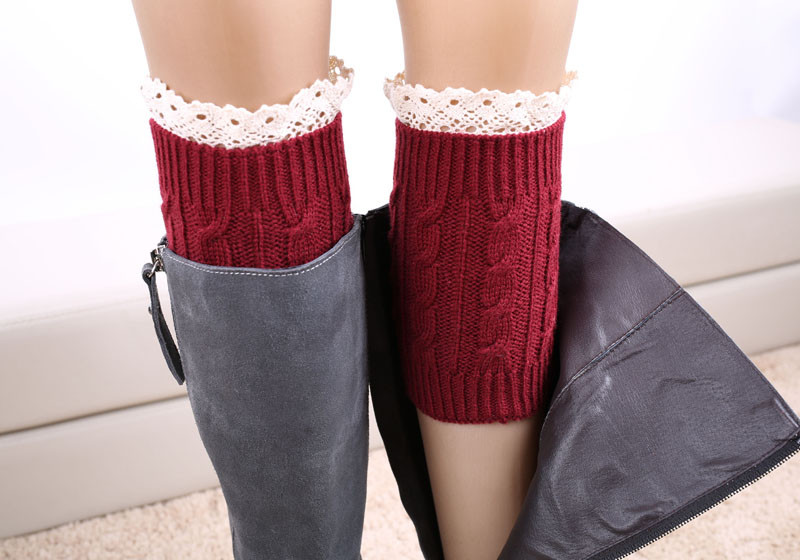 2016 New Hot Women Winter Knitted Leg Warmer Fashion Lace Stretch Acrylon Wool Crochet Knit Trim Boot Socks Cuffs Toppers