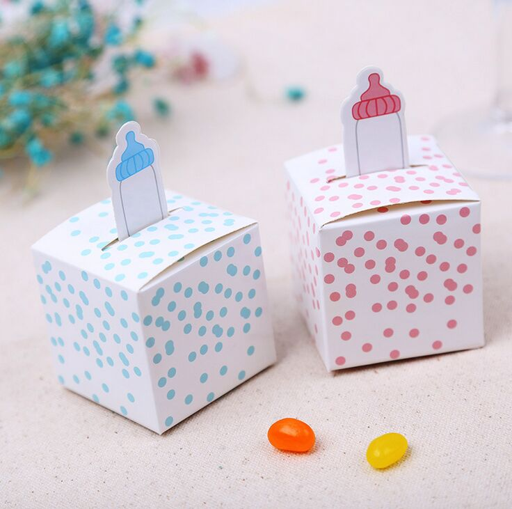 20pcs Nipple Bottle Baby Shower Favors Baptism Nursery Party Favours  Christening Gift Box Birthday Party Supplies