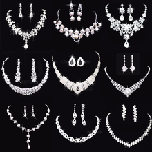 19 Styles Prom Wedding Bridal Crystal Rhinestone Necklace Earring Jewelry Set T52