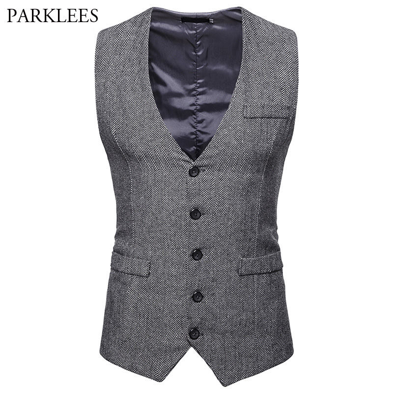 Men's Herringbone Tweed Suit Vest 2018 Brand New Single Breasted Wedding Tuxedo Vest Men Business Casual Waistcoat For Male XXL