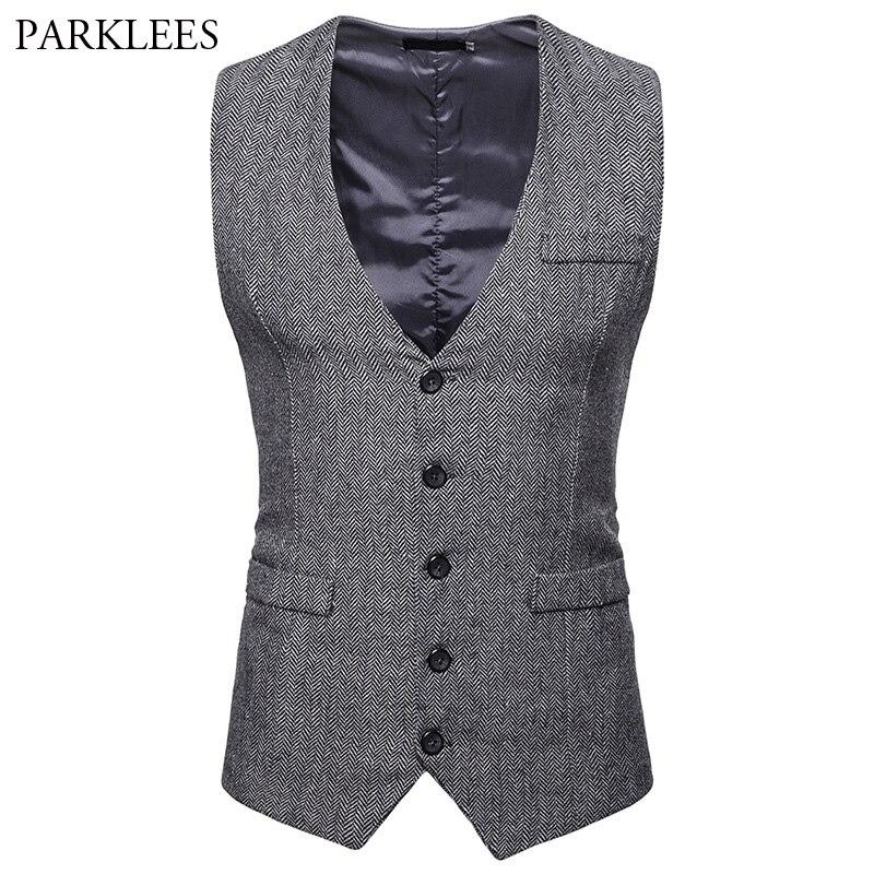 Men's Herringbone Tweed Suit Vest 2018 Brand New Single Breasted Wedding Tuxedo Vest Men Business Casual Waistcoat For Male XXL