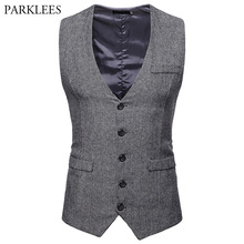 Men's Herringbone Tweed Suit Vest 2018 Brand New Single Breasted Wedding Tuxedo