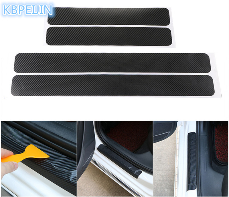 Car Styling Auto <font><b>Carbon</b></font> Fiber Door Sill Scuff Anti-Scratch Sticker for <font><b>Vw</b></font> polo tiguan <font><b>golf</b></font> <font><b>7</b></font> 4 6 passat b6 b5 b7 t5 accessories image